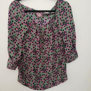 Juicy Couture silk polka dot blouse